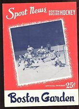Jan 8 1959 NHL Program Chicago Black Hawks at Boston Bruins EX+