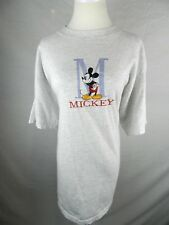 """MICKEY MOUSE XL T-SHIRT GRAY DISNEY BIG """"M"""" EMBROIDERED UNISEX SHIRT"""