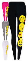 Girls Emoji Legging New Kids Smiley Face Emoticons Black Pink Legging 5-13 Years