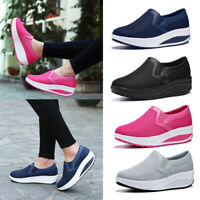 Women Wedge Shake Shoes Platform Sneakers Casual Loafers Slip On Mesh Breathable