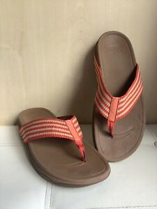 Womens Fitflop Brown Red Ivory Slip On Sandals Size Uk 7