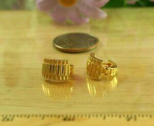 22K Dp Thai Baht Yellow Gold ~ ROLEX DIAMOND CUT HUGGIE HOOP OMEGA BACK EARRINGS