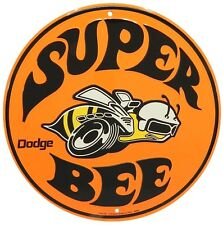 "Dodge Super Bee 12"" Embossed Round Metal Circle Sign"