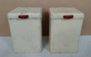 Vintage Pair of Kreamer #51 Storage Cannisters Tin Metal Containers