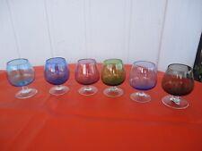 6 vintage  retro  shot  port brandy balloon glasses harlequin