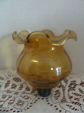 Homco 1189 Fluted Ruffled Amber Glass Peg Votive Cup Candle Holder W/Grommet