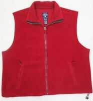 Vest Solid Red XL Polyester Fleece Zip Up Jacket Coat Faded Glory Extra Large