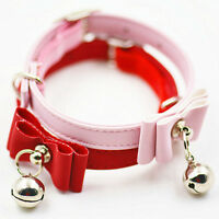 PU Leather Pet Adjustable Collars with Bells Bow Tie Necklace For Small Dog Cat
