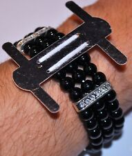 Flower Black Pearl Bead Corsage Wristlet Band Wristband Stretch Holder Wedding
