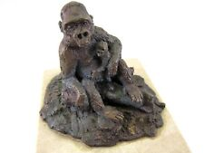 RARE Hy LeVens SIGNED Bronze Ape Sculpture Mother and Child Marble Base