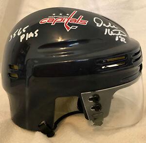 Dale Hunter signed Washington Capitals Mini Helmet 3565 PIMs Inscription