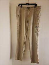 Gray Saks Fifth Ave Men's Cargo Pants Tan Khaki Size 36 100% Linen