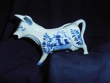 Vintage Delfts Blauw Cow Creamer ~ Hand-painted ~ Crown ~ #617 Blue & White