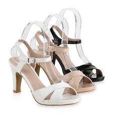 Damen Riemchensandaletten Stiletto Sandaletten Lack High Heels 821791 Schuhe