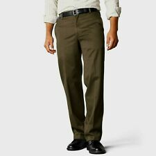 New Dockers Signature Khaki Straight Flat Front Trousers Branch/Brown W34 L34
