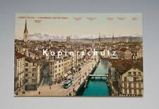 Ansichtskarte ZÜRICH LIMMATQUAI und die ALPEN um 1910