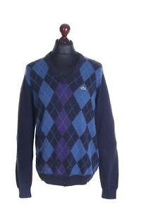 Men's LACOSTE Navy Blue Cotton Blend Argyle V-Neck Sweater Size 4