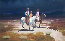 VINTAGE 70s SANTOS BARBOSA LISTED ARTIST COWBOY SOUTHWEST WESTERN OIL PAINTING