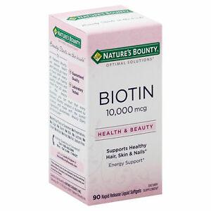 Nature's Bounty BIOTIN 10,000 mcg 90-Softgels HEALTHY HAIR SKIN NAILS ENERGY SUP