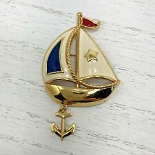 Avon Enamel Sailboat Red White Blue Star Brooch Pin With Dangle Anchor
