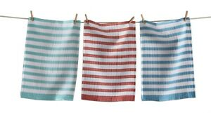 TAG Waffle Weave Striped Kitchen Dish Towel Set Of 3 18in x 26in 100% Cotton New