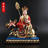 "12.99""TibetanBuddhism Resin Gold-plated Hand-made Ksitigarbha Bodhisattva Statue"