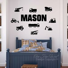 Personalized Name 9 Construction Trucks Bedroom Vinyl Wall Decal Sticker Décor