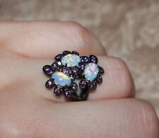 fire opal Amethyst ring gems black gold filled jewelry 6 6.5 8.5 cocktail band