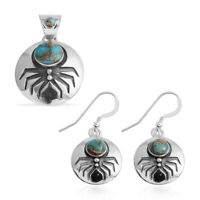 Elegant Sterling Silver Turquoise Pendant Earring Pairs Southwest Jewelry Set
