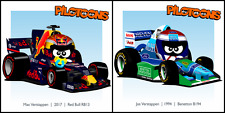 Print on Canvas set Max Verstappen (2017) & Jos Verstappen (1994) by BM