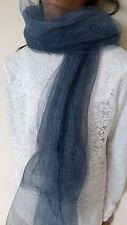 Silk Chiffon Fabric long Scarf  blue