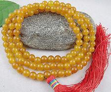 8mm Tibetan Buddhism 108 Yellow Jade Prayer Bead Mala Necklace