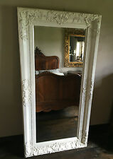 CHATEAU ANTIQUE WHITE  LARGE SHABBY CHIC WOOD OVERMANTLE WALL MIRROR 5FT x 4FT