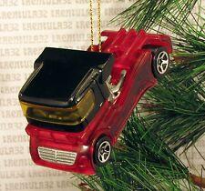 BIG RIG SEMI TRACTOR CAB RED BLACK RACE TRUCK RACING CHRISTMAS ORNAMENT XMAS