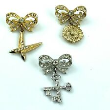 Vtg 1950 Signed ORA Brooch Lot 3 Gold silver tone Crystal Bow Dangle Sun Feather
