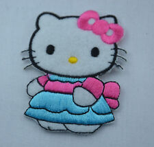 HELLO KITTY in DRESS 6cm  Embroidered Iron Sew On Cloth Patch Badge Applique