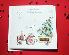 Christmas Tractor Boys Christmas Card Handmade & Personalised Grandson/ Son