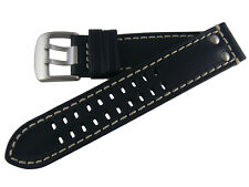 Hadley-Roma Luminox® Style Leather Replacement Watch Strap 22mm MS915 Black