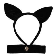 Black Velvet Cat Ears Alice Hair Band and Collar Bell Set Fancy Dress Halloween