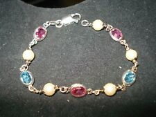 """Sterling Silver 925 Milor Italy Faceted Multi-Stone Pearl Bracelet 7"""" Long"""