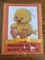 Baby Boy Card Sweetest Yellow Duck Messy Hair Big Feet Ribbon Handmade
