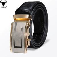 Herren für Männer Automatische Schnalle Gürtel Gurt Schwarz Anzug Jean 35mm Mode