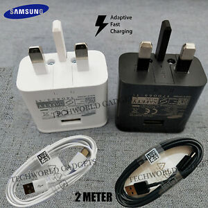 Genuine Samsung Fast Charger Plug & 2M Long USB Cable For All Galaxy Phones Tabs