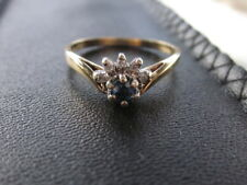 Genuine  Sapphire & Diamond 9ct Gold Ring  Stamped    (SSD)