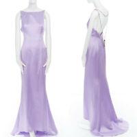 DICE KAYEK purple acetate bateau neck pendent necklace open back evening gown XS