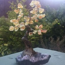 Finest AA Grade Citrine Gemstone Gem Tree Geode base, resin trunk, REIKI CHAKRA