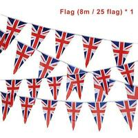 British Union Jack Bunting 25 Flags Triangle 8 Meters Pennant Street Party Decor