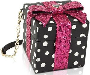 Betsey Johnson Polka Dot Gift Box Sequin Crossbody Shoulder Bag