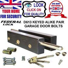 GARAGE DOOR BOLTS LOCK Security Federal (Ex Enfield) D613 One Pair Keyed Alike
