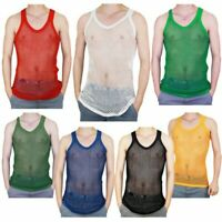Mens 100% Cotton Mesh Fishnet Fitted Gym Summer String Vest